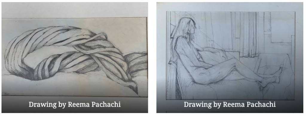 Drawings of a rope (left) and a life drawing of a woman (right) by Reema Pachachi