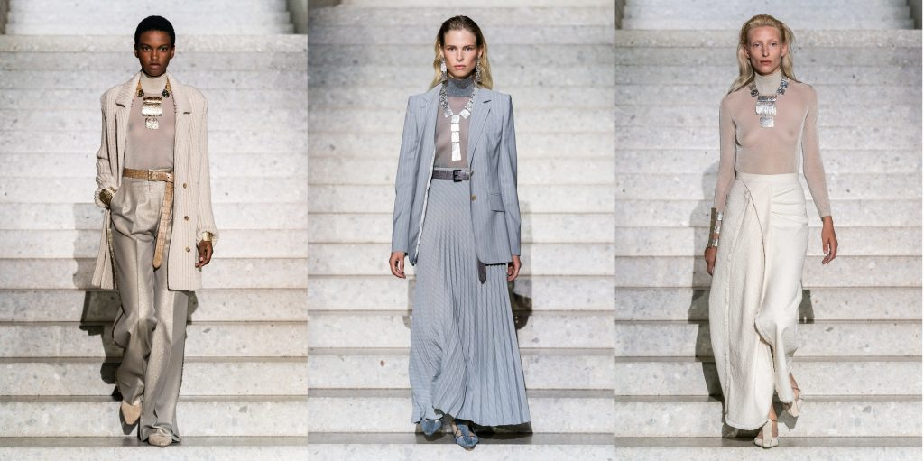 Models walk at Berlin's Neue Museum for Max Mara's Resort 2020 collection featuring jewellery designed by Reema Pachachi, Kuka-me design director.