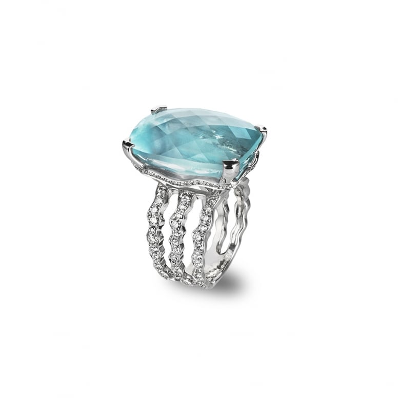 Aquamarine and Diamond Wiggly Ring