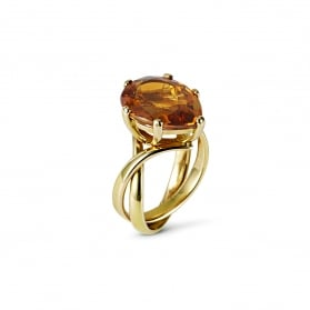 Citrine and 18ct Rose Gold ring