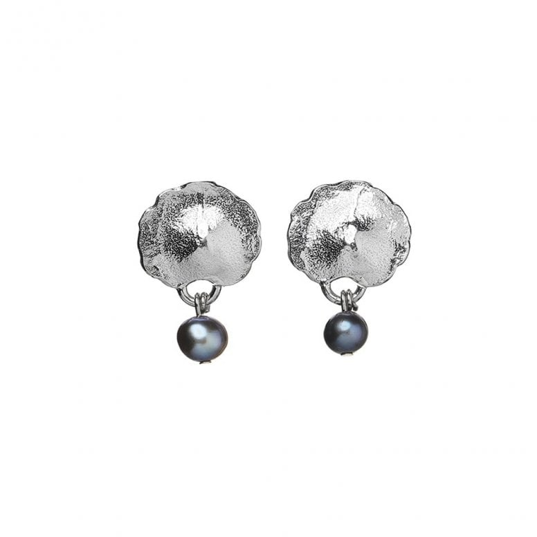 Edges Small Flower and Pearl Earrings