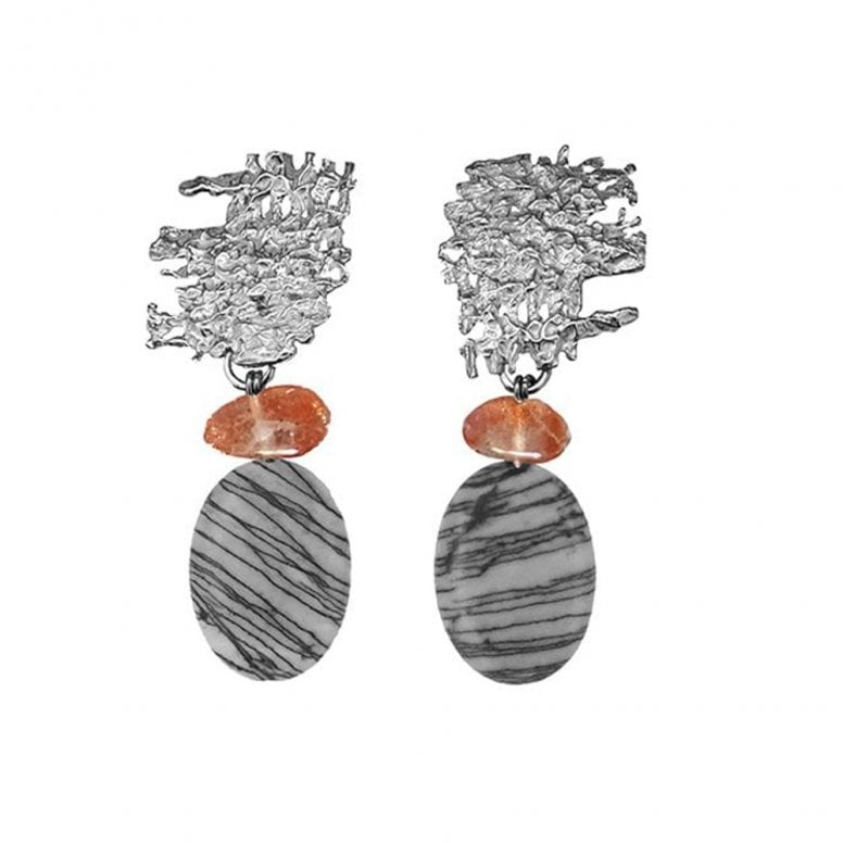 Fragments Urban Fragment earrings with Goldstone and Picasso stone drops