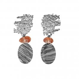 Urban Fragment earrings with Goldstone and Picasso stone drops