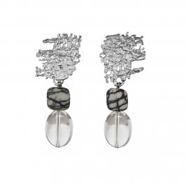Urban Fragment earrings with Picasso stone and Rock Crystal drops