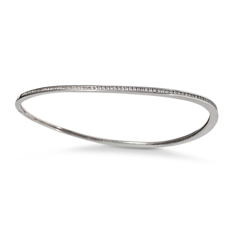 kuka-me diamonds Slice Bangle in White Gold With Diamonds