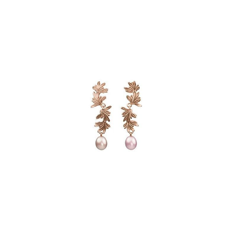 La Traviata Double Leaf Curl earrings with large Pink Pearl drops
