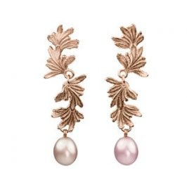 Double Leaf Curl earrings with large Pink Pearl drops