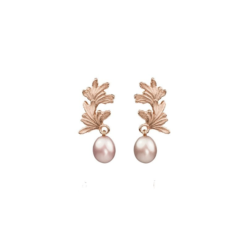 La Traviata Leaf Curl earrings with large pearl drops