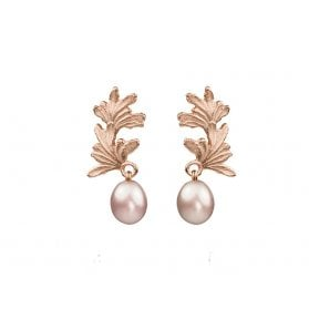 Leaf Curl earrings with large pearl drops