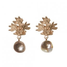 Square Leaf earrings with Baroque Pearl drops
