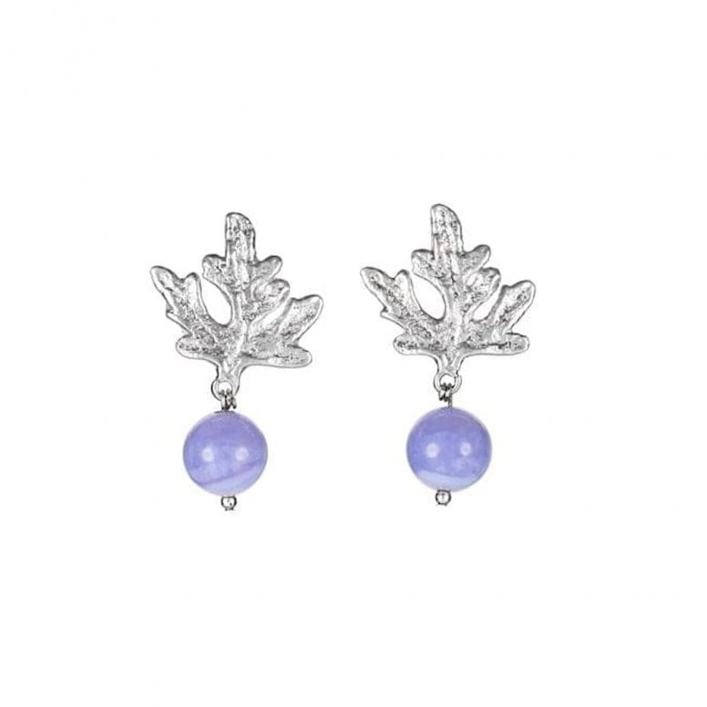 Summer Dreaming Small Leaf and Blue Lace Agate Earrings