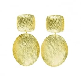 Tweed Square and Oval Earrings