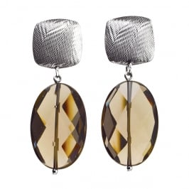 Tweed Square and Oval Smokey-Quartz Earrings