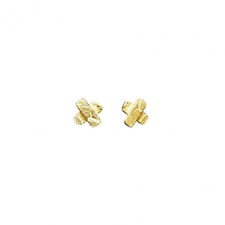 Unravelled Tiny Cross Earrings Gold